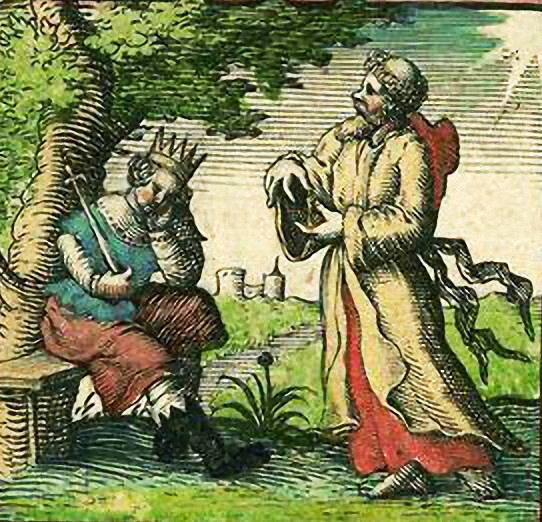 Король Эдвин и святой Паулин. Иллюстрация Джона Спида (1611 год)