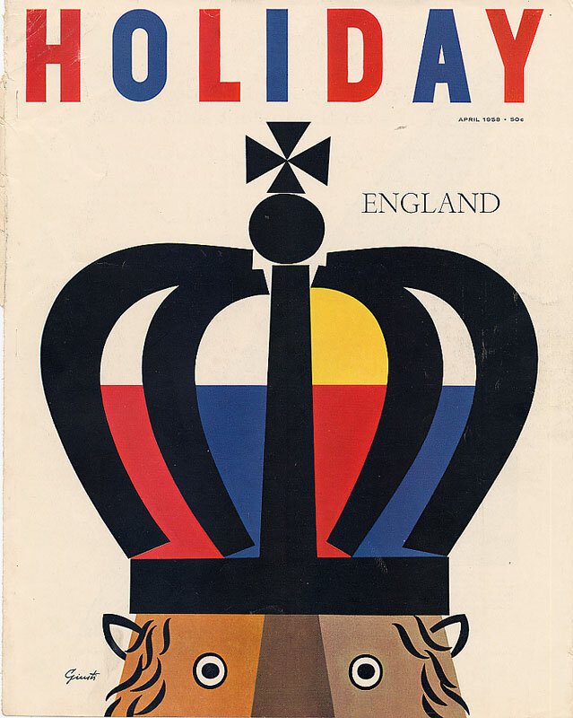 Holiday Magazine.England, April 1958. Illustration: George Giusti