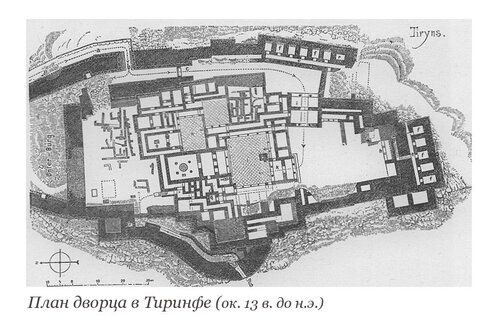 Акрополь микенского Тиринфа, план дворца