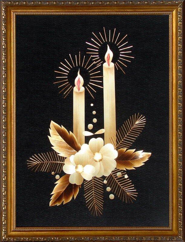 Материалом для изготовления картин служат стебли злаковых культур (соломка).  В основном используется рожь...