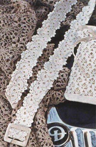 Женской пояс связан крючком.