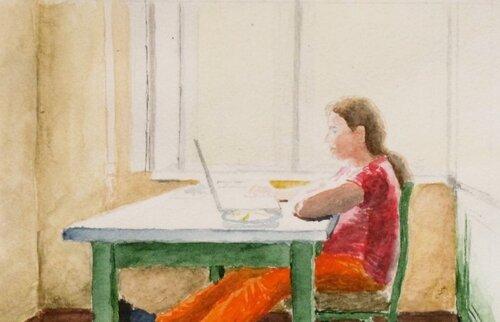 Дочь с ноутбуком