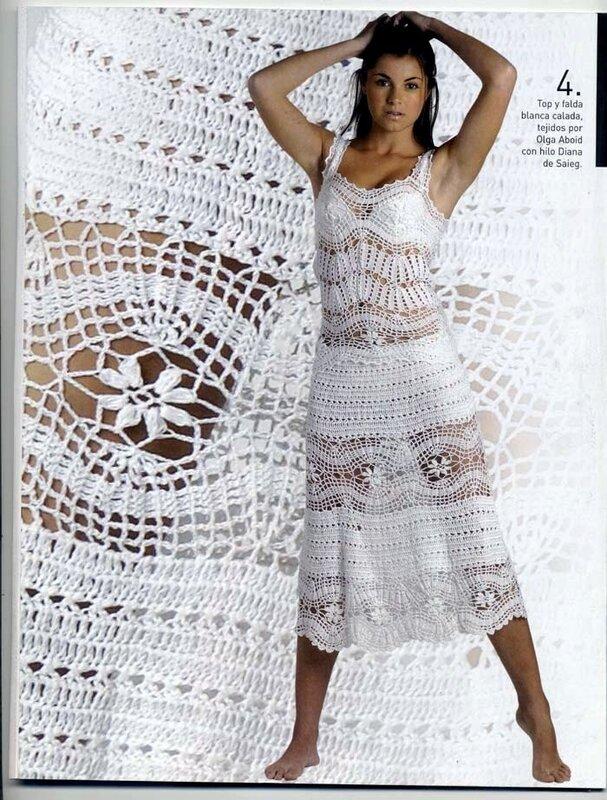 119 Розовое летнее платье крючком схемаШирина.