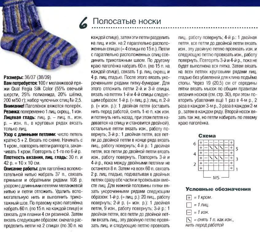 Носки схема вязания на двух спицах