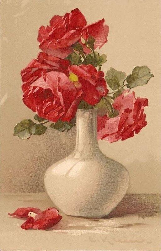 К. Кляйн. Красные розы в белой вазе.