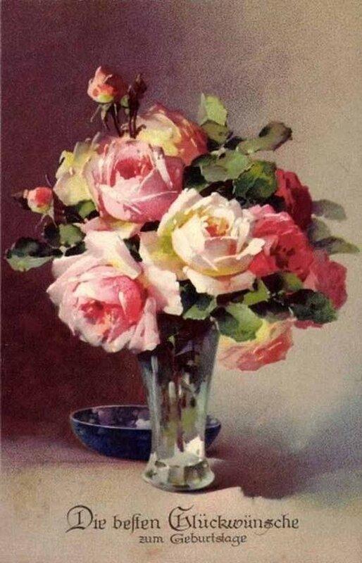 К. Кляйн. Розы в вазе. Наилучшие пожелания счастья в день рождения.