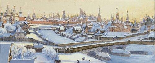 Вид ансамбля центра Москвы с севера, от Кузнецкого моста. Михаил Петрович Кудрявцев.