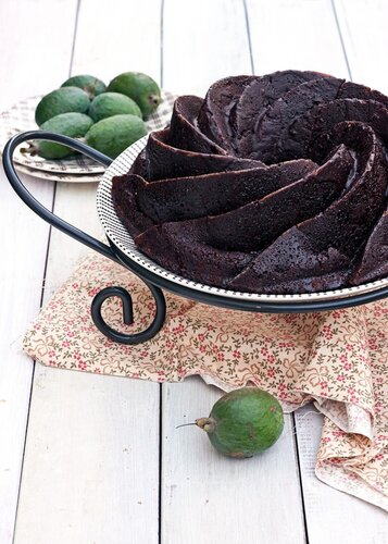Chocolate cake with feijoa and banana