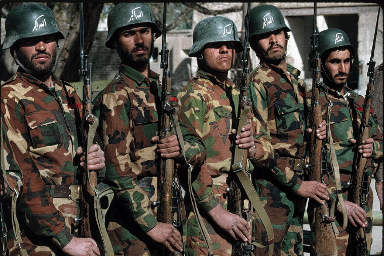 Jalalabad. 1994 Academy of new islamic army Allah O Akbar written on helmets3.jpg
