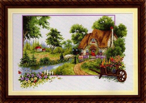 схемы вышивки крестом домики.