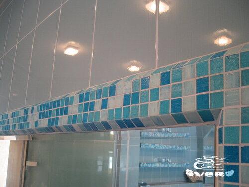 облицовка периметра зеркала мозаикой, в объемном исполнении