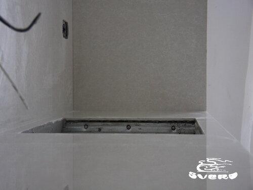 облицовка рабочей поверхности кухни, каркас, заливка бетоном, расточка под 45 градусов, отверстие под умывальник
