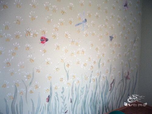 детская комната, отпечатки детских ручек, роспись