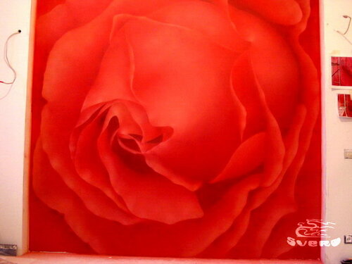 """""""роза"""", роспись стен"""