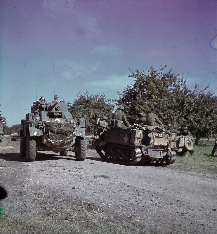 Canadian Humber Mk IV & Bren Gun Carrier on the move in France