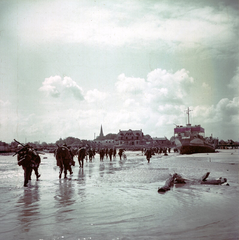 Canadian soldiers on Juno beach near (Bernieres-sur-Mer) during the Normandy landings 6th June1944
