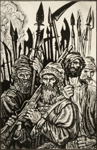 """Иллюстрация к произведению В. Шукшина """"Пришёл дать вам волю"""". 1983. Юрий Иванов. Линогравюра."""