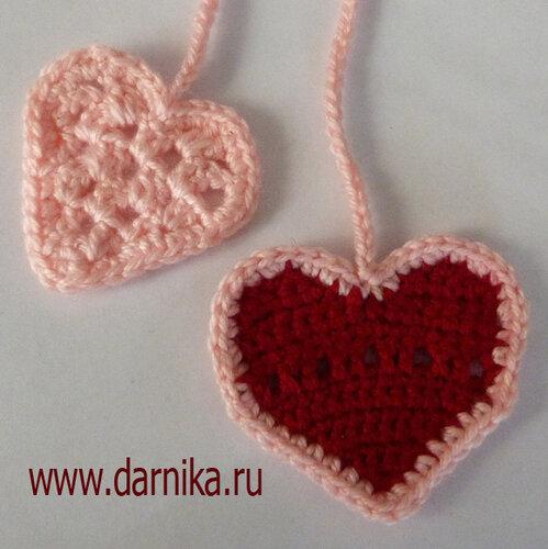 Вязаные сердечки - закладки