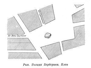 Площадь у церкви Санта Мария де Монти в Риме, план