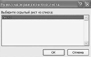 Рис. 2.60. Окно «Вывод на экран скрытого листа»