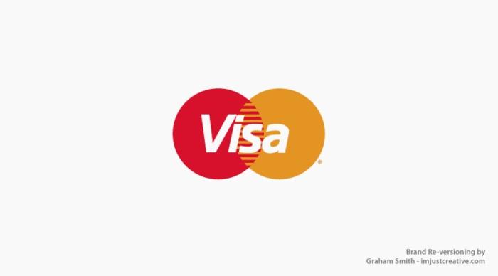 логотип Viza стал как Mastercard  - бренды которые поменяли местами