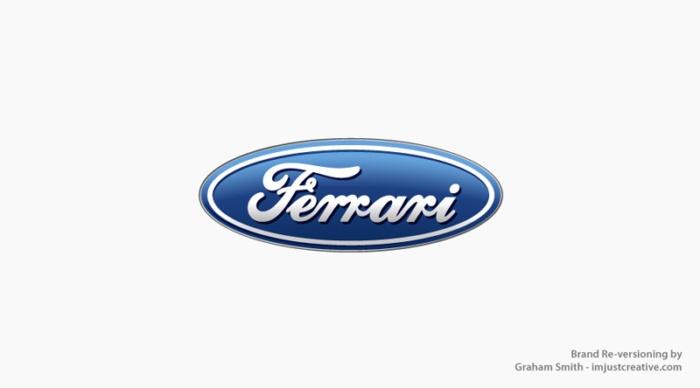 логотип Ferrari стал похож на Ford - бренды которые поменяли местами