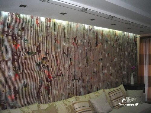 декоративная штукатурка стены фактурная, подсветка вторая