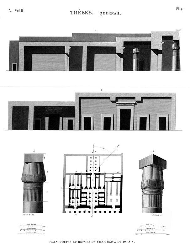 Храм Сети I в Курне, чертежи