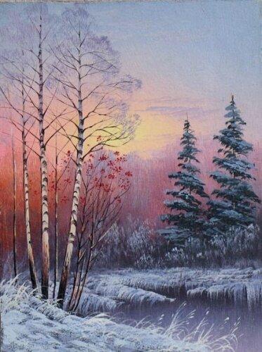 """Оригинал схемы вышивки  """"зимний пейзаж """" ."""