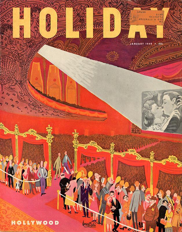 Holiday Magazine.Hollywood, January 1949. Illustration: Jose Bartoli