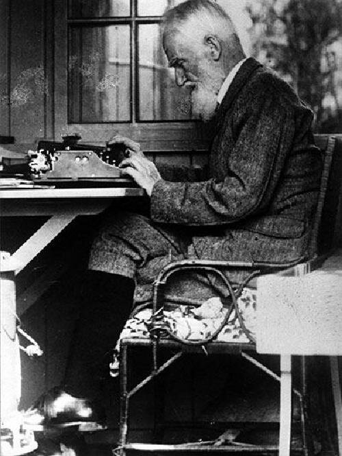 George Bernard Shaw at work in 1929