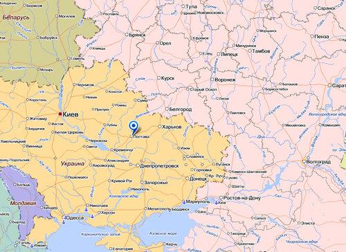 Карта с Киевом и Полтавой