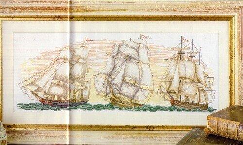 корабли. написала.  Три коробля.  29 июня 2011 года,10:26. схема. море.  Зовутка. вышивка крестиком.