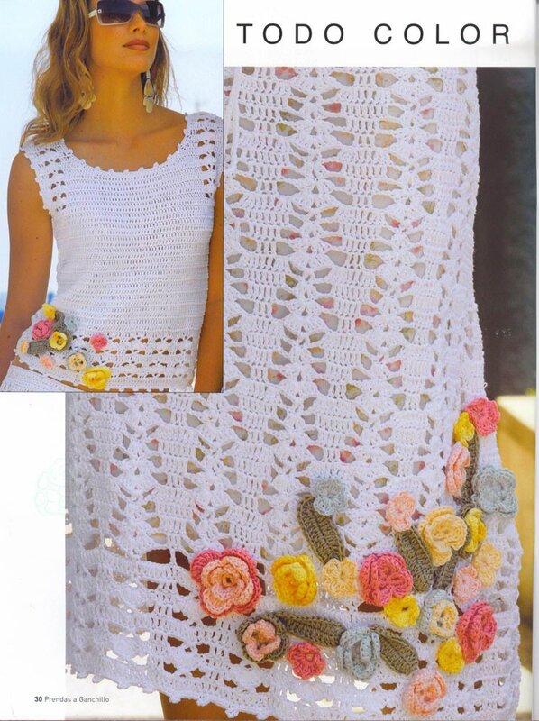 Вязание крючком юбки топы костюмы
