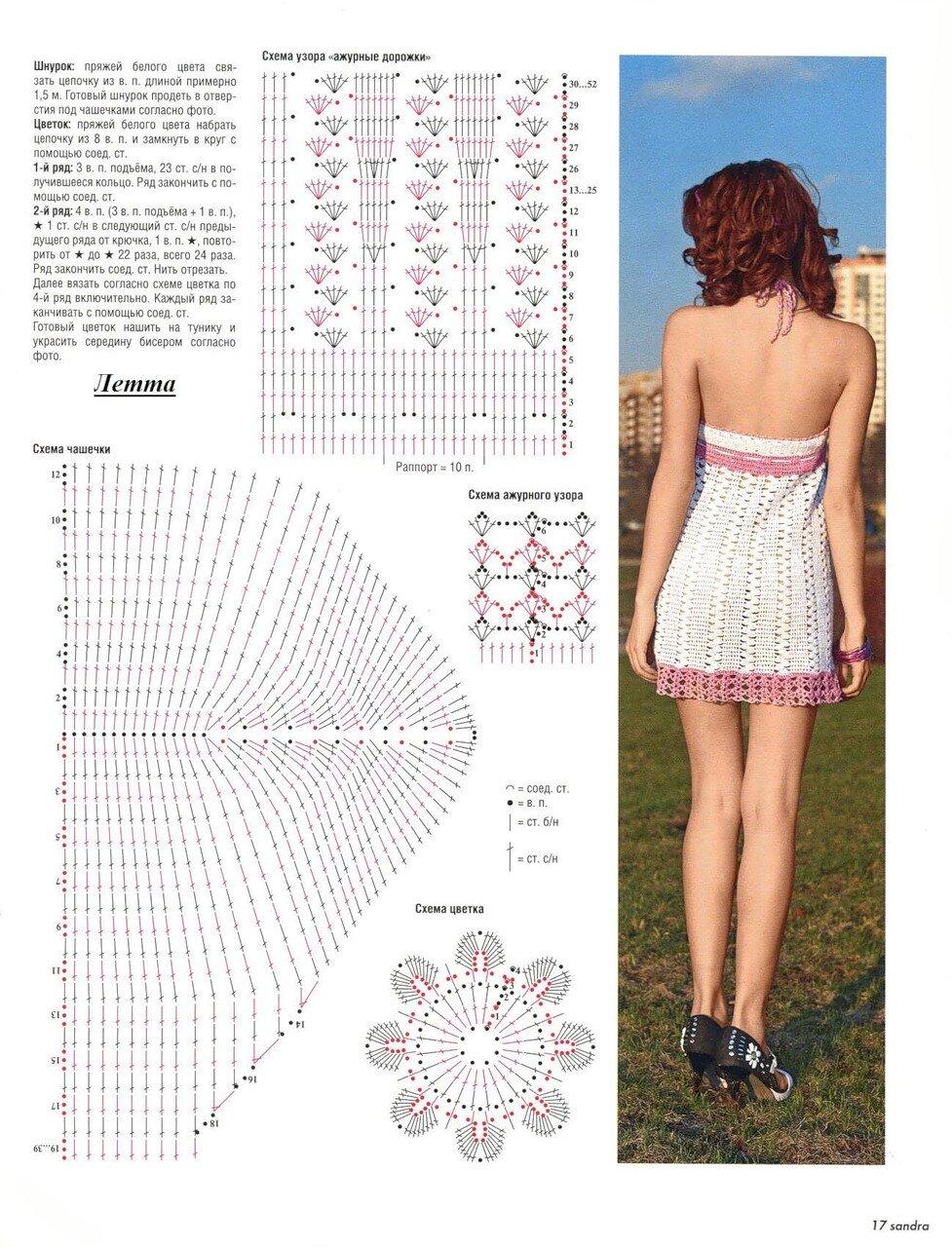 Пляжное платье крючком схемы и описание фото