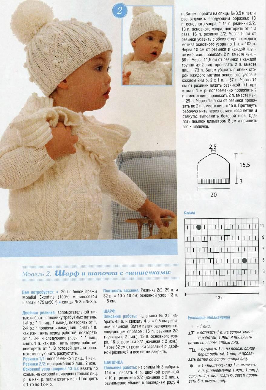 Вязание на спицах шапочка для ребенка 213