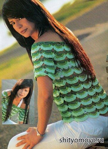 Бесплатные модели вязания крючком: зеленая летняя блузка в стиле «Кармен»
