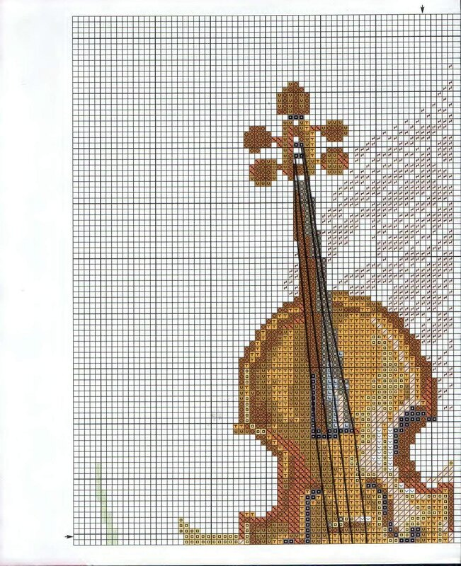 """Схема вышивки крестом  """"Скрипка """" (Riolis) ."""
