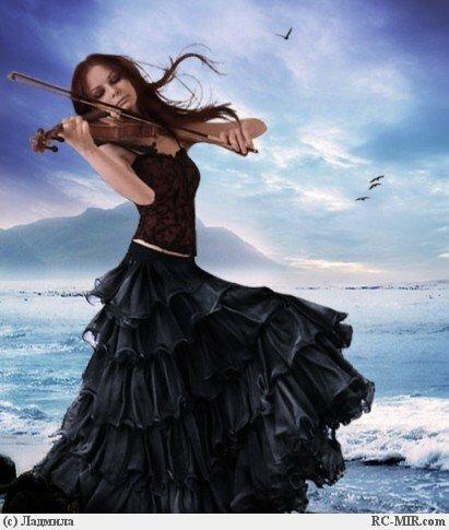 """Комментарии (стр. 1) - Схема вышивки  """"Играющая на скрипке.  - Схемы автора  """"Sineglazka """" - Вышивка крестом."""