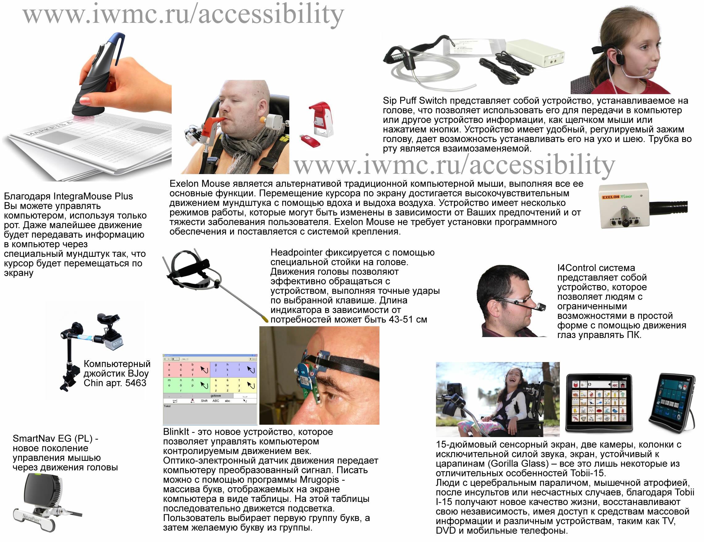 Инваграфика, альтернативные устройства ввода информации без рук