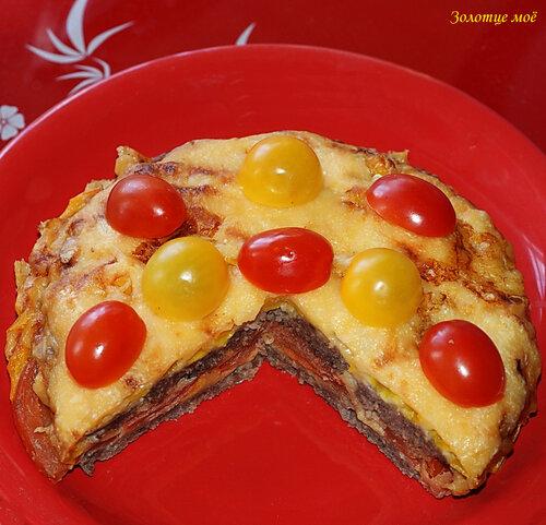 Мясная запеканка с томатами и перцем