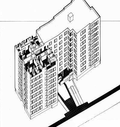 Алвар Аалто, квартиры на Hansaviertel, аксонометрия