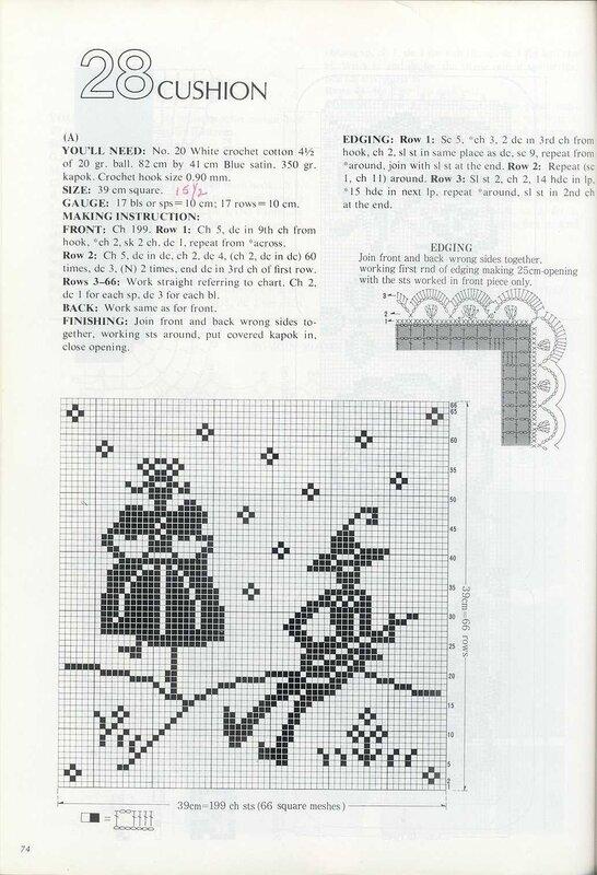 Филейное вязание салфеток со схемами.