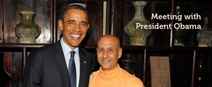 Radhanath Swami with President Obama tn