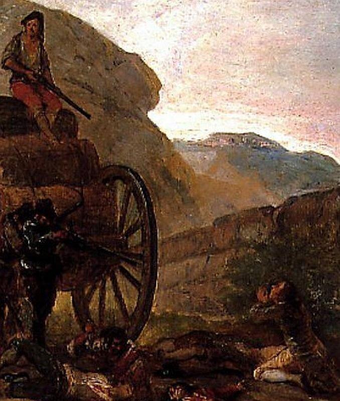 Гойя. Нападение бандитов на карету. (1793) Brigands attacking a coach .Tinplate. 42 x 31 cm.
