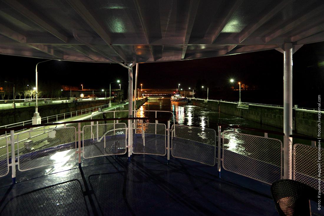 Рыбинск шлюз ночное фото