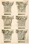 ЧЕРТЕЖ, ШЕСТЬ КАПИТЕЛЕЙ СТОЛБОВ, С АЛЬТЕРНАТИВНЫМИ ПРЕДЛОЖЕНИЯМИ, 1780-1800.jpg