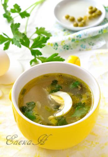 Суп с горошком и яйцом