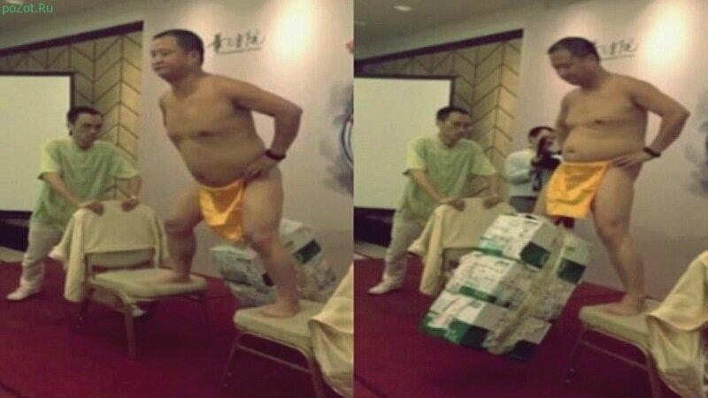 Китаец повесил на гениталии три ящика пива. Шокирующее видео!