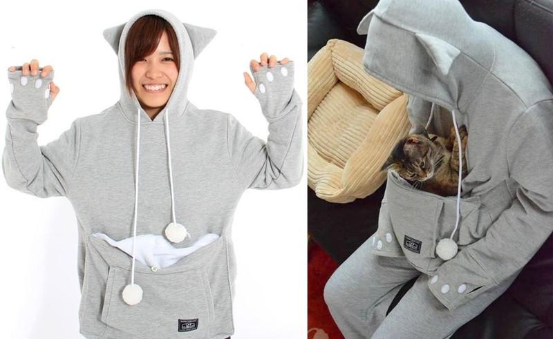 1. Эта забавная толстовка-кенгуру согреет не только вас, но и вашего домашнего любимца.